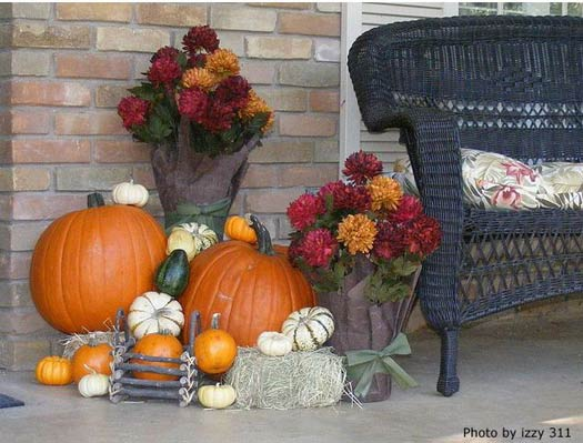 Beautiful Autumn porch with pumpkins
