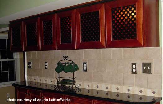 lattice panels as cabinet doors