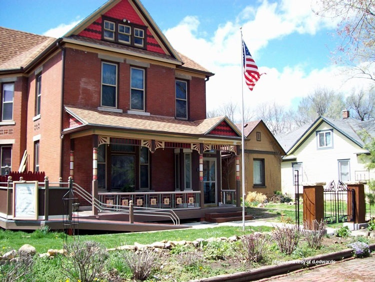 Victorian front porch with integrated wheelchair ramp