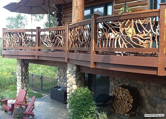 curved deck railing using mountain laurel wood