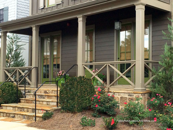 Front porch railing ideas materials and more for Front balcony railing
