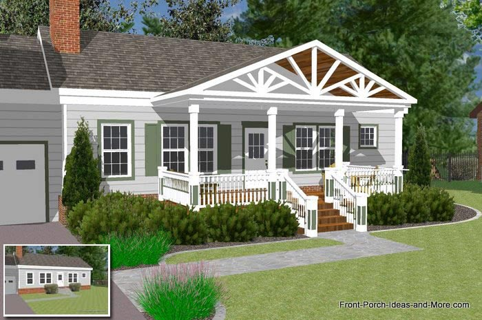 Great Front Porch Designs Illustrator on a Basic Ranch Home ... on 4 br ranch house plans, side entry garage ranch house plans, cathedral ceiling ranch house plans, 3 br ranch house plans, galley kitchen ranch house plans, corner lot ranch house plans, country ranch style house plans, basement ranch house plans, brick ranch house plans, open floor plan ranch house plans, exterior ranch house plans, modern ranch style house plans, gazebo ranch house plans, 2 bedroom ranch house plans, 3 car garage ranch house plans,