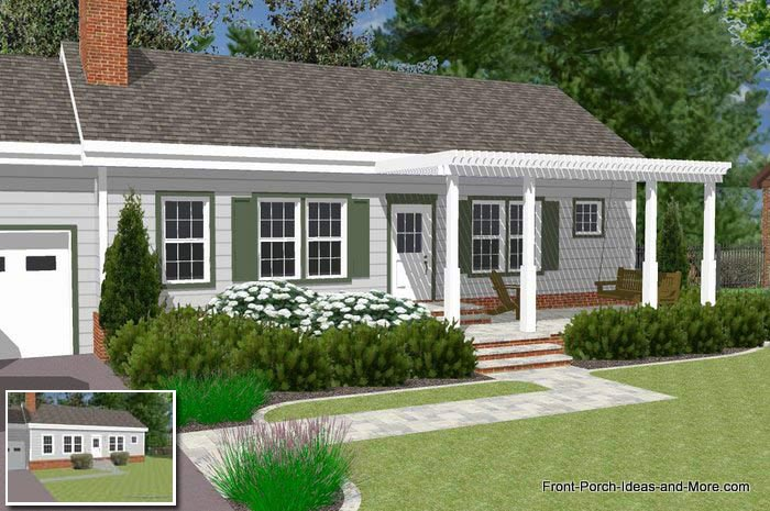- Great Front Porch Designs Illustrator On A Basic Ranch Home Design