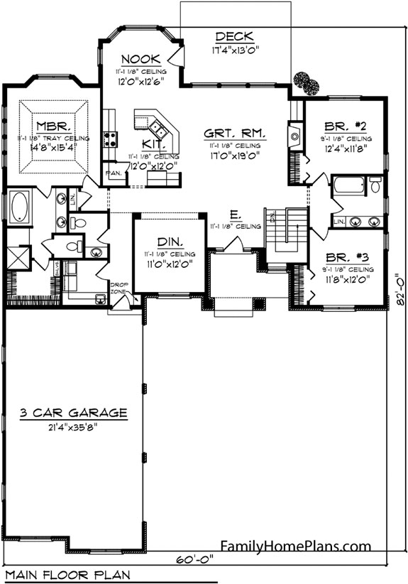 contemporary ranch home floor plan 73141 from Family Home Plans