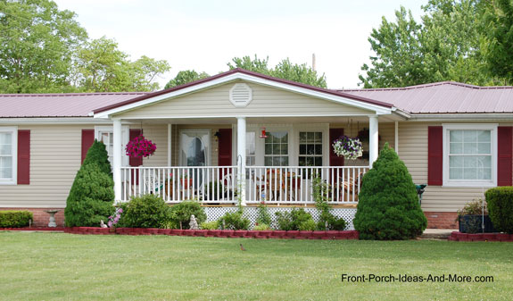 A super charming ranch home with a welcoming porch.