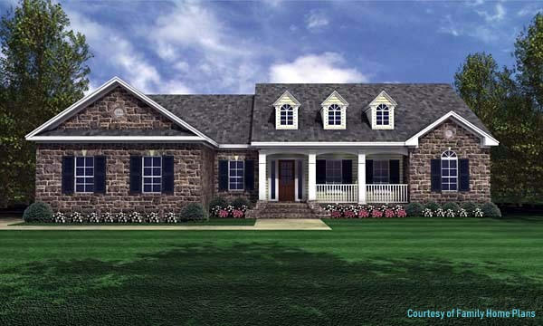 ranch home graphic showing front porch and faux dormers from plan 59024 Family Home Plans