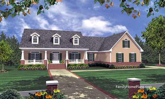 Ranch home porches add appeal and comfort for Familyhomeplans 75137
