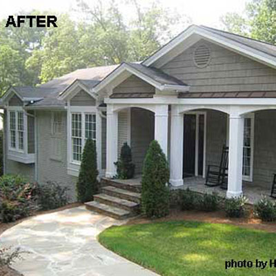 remodeled front porch on ranch home