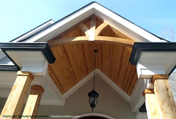 view of porch roof and ceiling details on ranch home from plan 98267 Family Home Plans