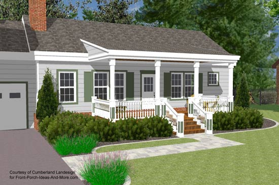 3d Rendering Of Ranch Home With Shed Roof Over Front Porch