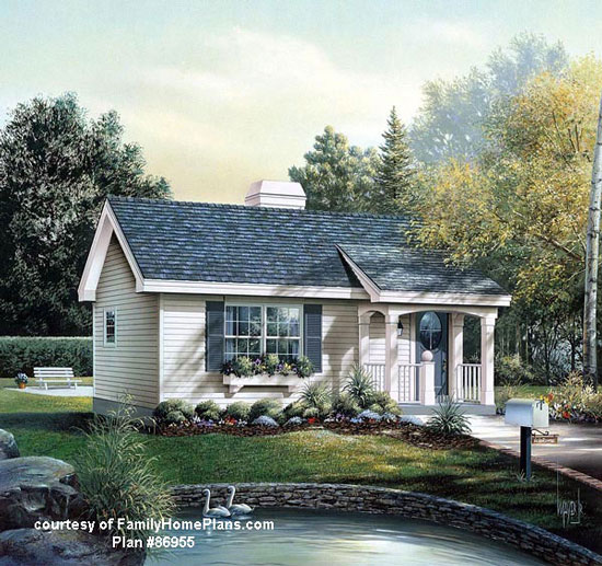 ranch home plan with porch from FamilyHomePlans.com #86955