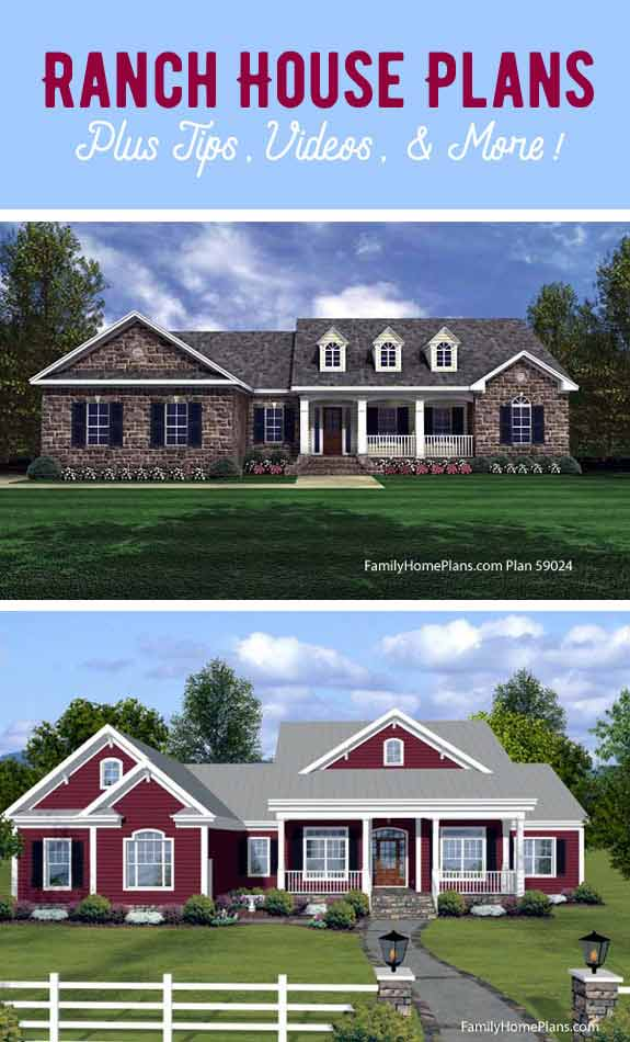 We have gathered a variety of ranch style house plans for you to enjoy here.  See them at Front Porch Ideas and More.