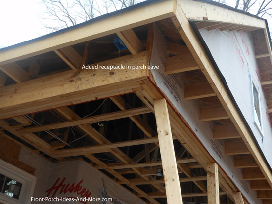 receptacle in porch roof eave