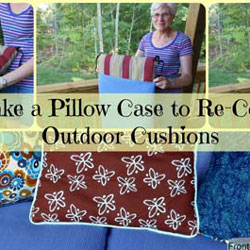 collage about recovering porch cushions