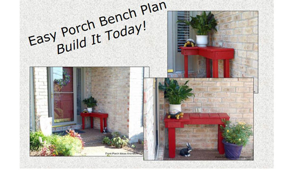 red corner bench on porch