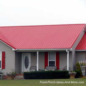 red metal front porch roof