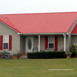 front porch with standing seam red metal roof
