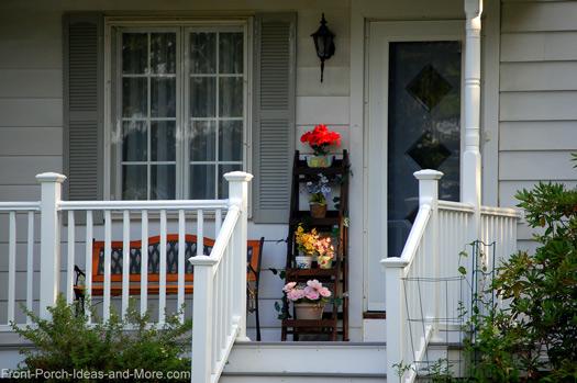 ladder planter on front porch