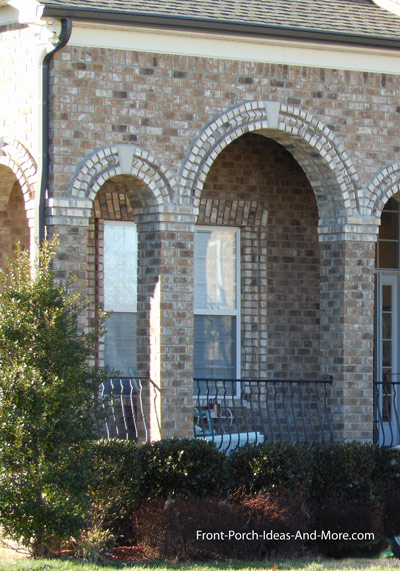 romanesque columns on a residential front porch