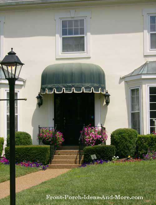 round green porch awning over front door