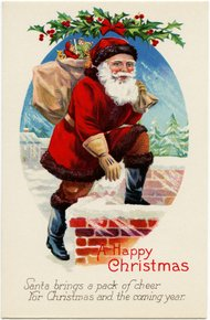 Santa going down chimney - vintage image from Old Design Shop