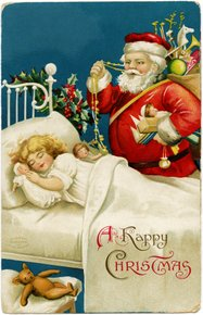 Santa over the bed of a child - vintage image from Old Design Shop