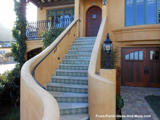 stucco front porch staircase in Sausalito California