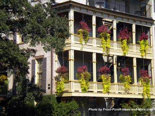 typical southern side porches in Savannah
