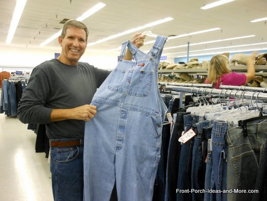 Dave chose overalls for the scarecrow