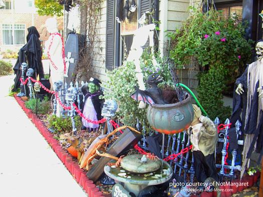 really spooky halloween scene beside walkway