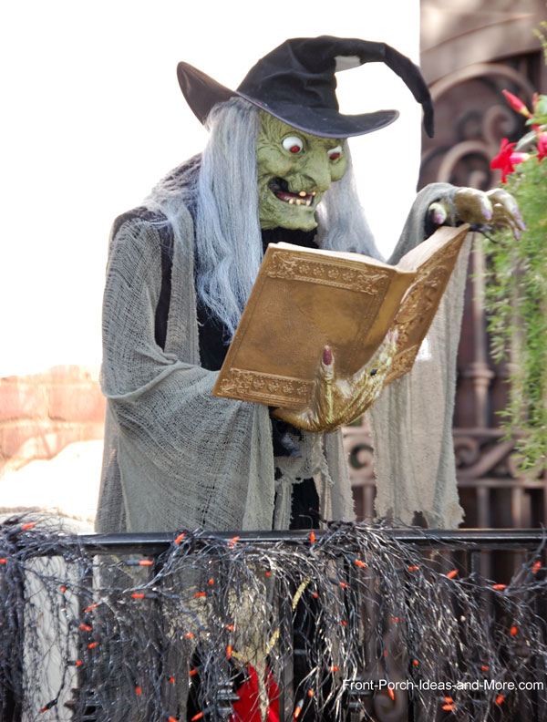 ugly witch on front porch reading from a book of brews