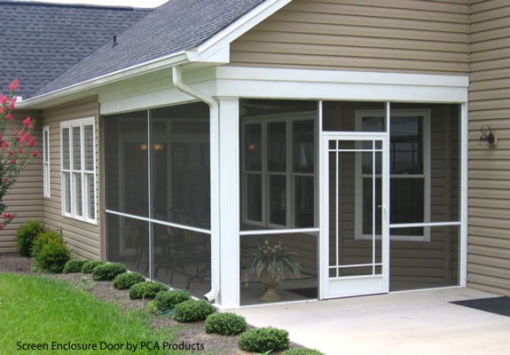 custom aluminum screen door on screen enclosure by pca products