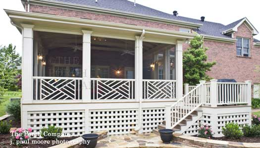 custom designed screen porch with porch skirting