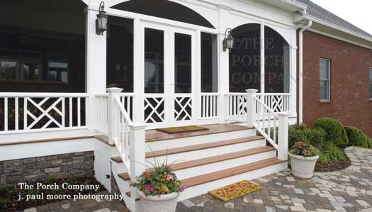 porch enclosure with arched screen panels