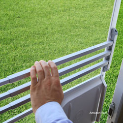 screen door push bar being operated by a male