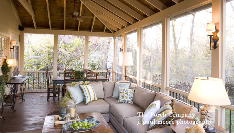 Screened In Porch Ideas Design porch design ideas to create custom porch charlotte screened porch screen porch ideas designs Welcoming Screen Porch Design Wide Plank Flooring And Wall Sconce Lighting