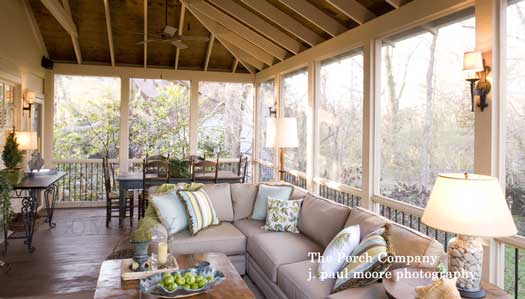 custom screened porch and furnishings