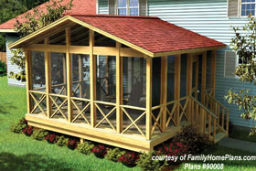 screen porch plan 90008 from familyhomeplans.com