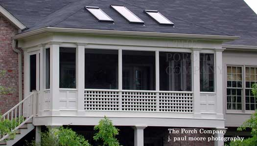 Screen porch with hip style roof