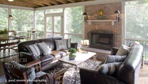 cozy seating area in front of outdoor fireplace