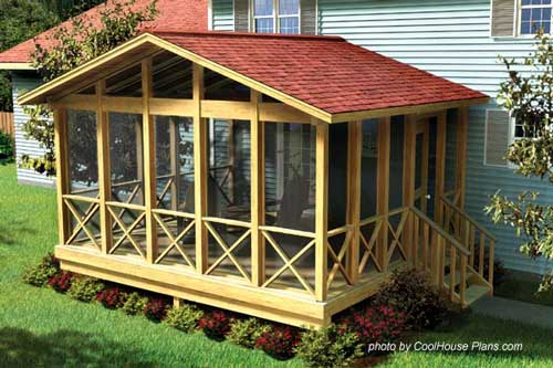 screen porch plan by familyhomeplans.com