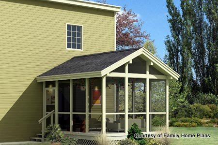 Family Home Plans Screened Porch Plan #85948