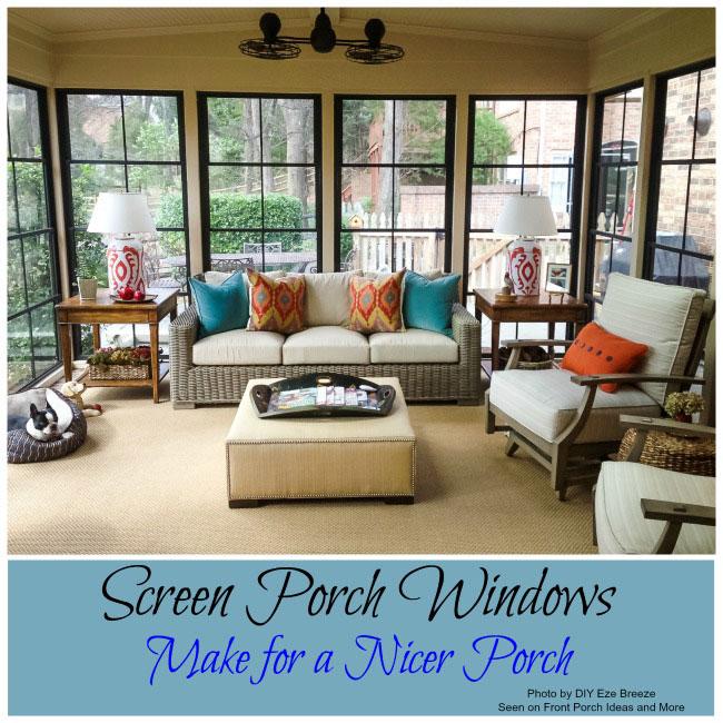 Screen porch windows through diyEzeBreeze.com create a wonderful porch enclosure