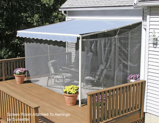 Screen porch kits install on awnings to make a porch for Retractable screen porch systems