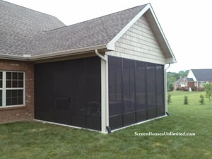 Screen porch kits install on awnings to make a porch for Porch screen panels home depot