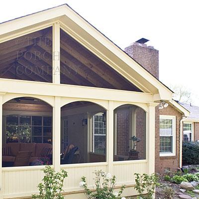custom designed exterior screen porch