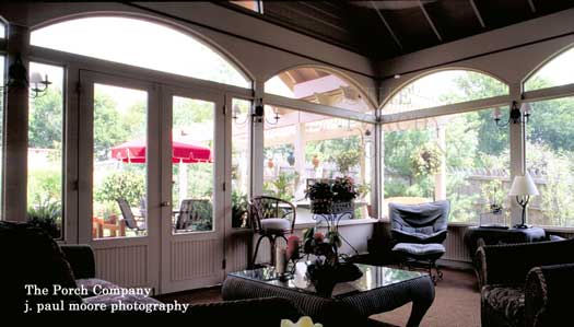 Enclosed porch with arch screen frames