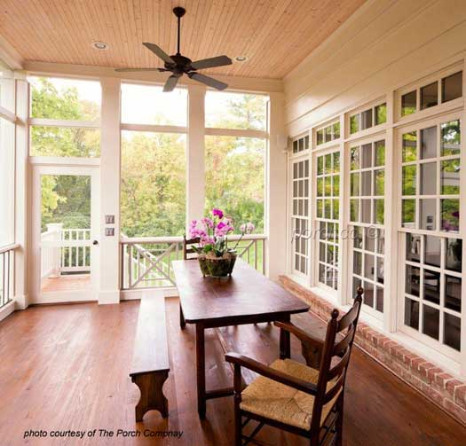 porch enclosure with bead board ceiling and recessed lighting