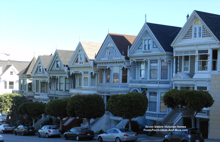 ornate Seven Sisters Victorian Homes in San Francisco CA