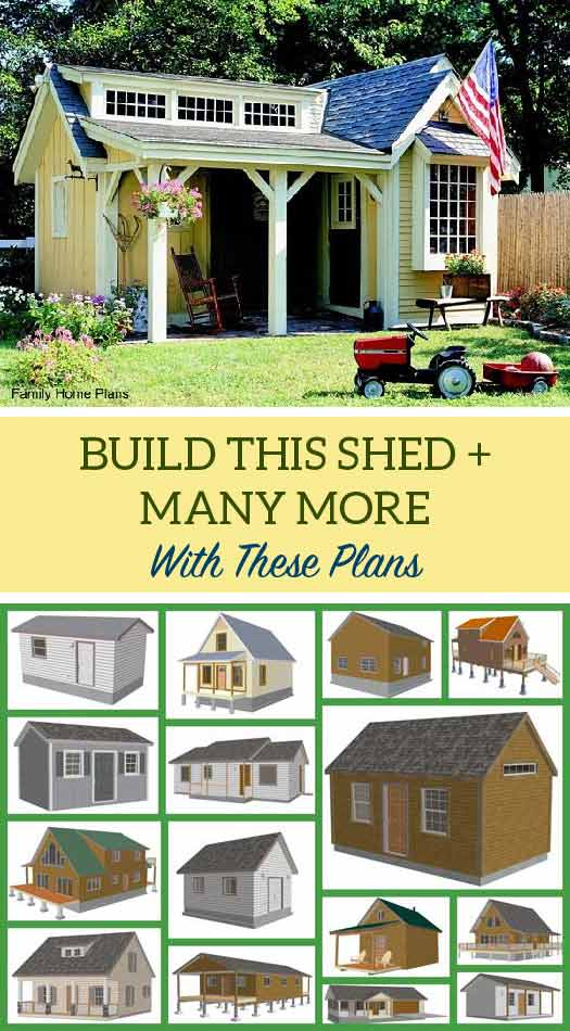Build this cute yellow shed or one of these other plans